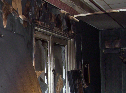 fire damage on interior