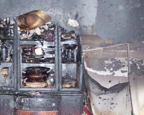 interior kitchen fire damage photo