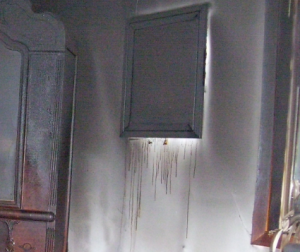 major soot damage in bathroom