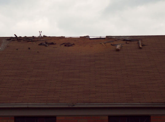 Roof damage from severe storm