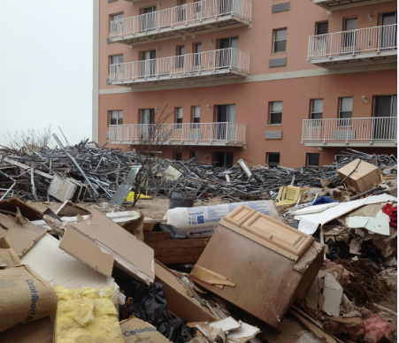 debris outside of building