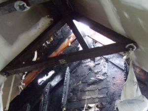 fire damaged roof truss