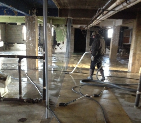 flooded building cleaning