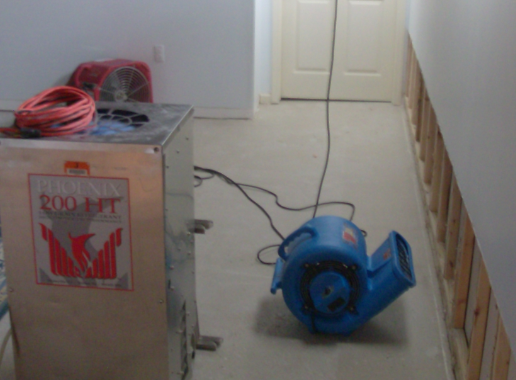 picture of rapid drying equipment in basement