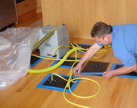 technician setting up equipment
