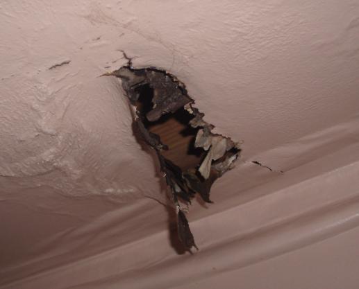 fire damage in wall