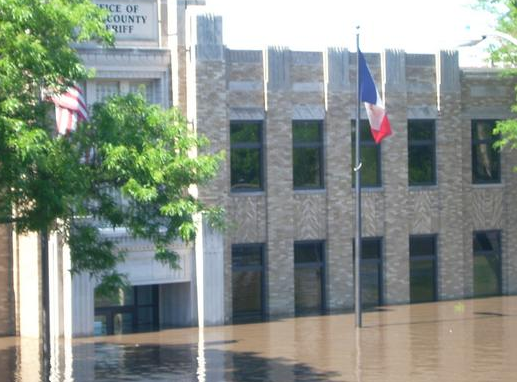 picture of building flooded severly.