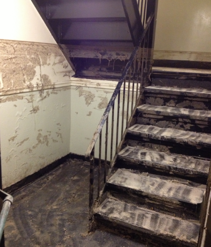 storm damaged staircase