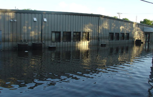 flooded commercial building
