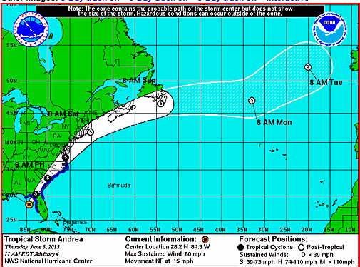 Map Of Tropical Storm Andrea Path