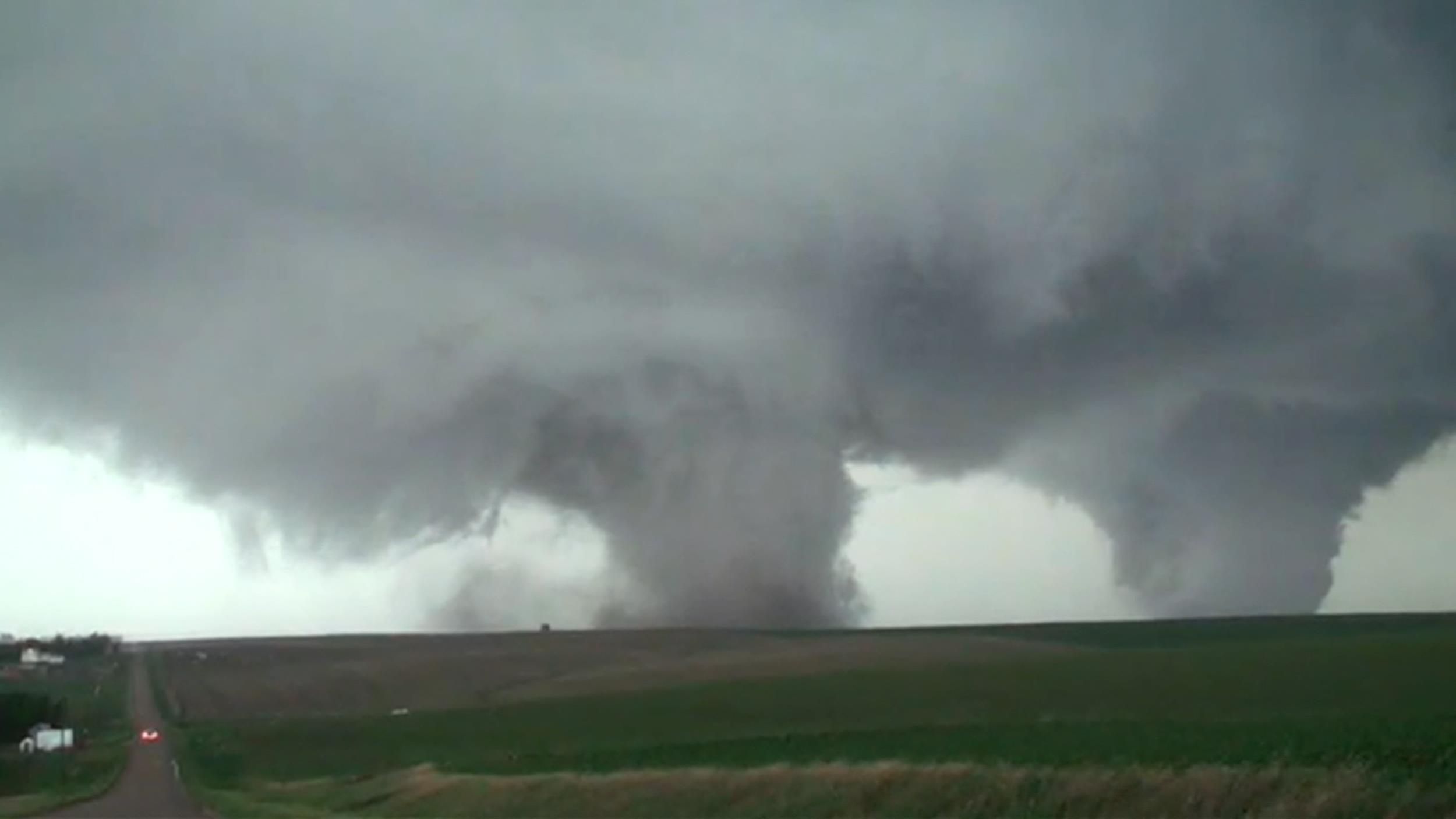 Twin Tornadoes Ravage Small Town in Nebraska Monday Evening
